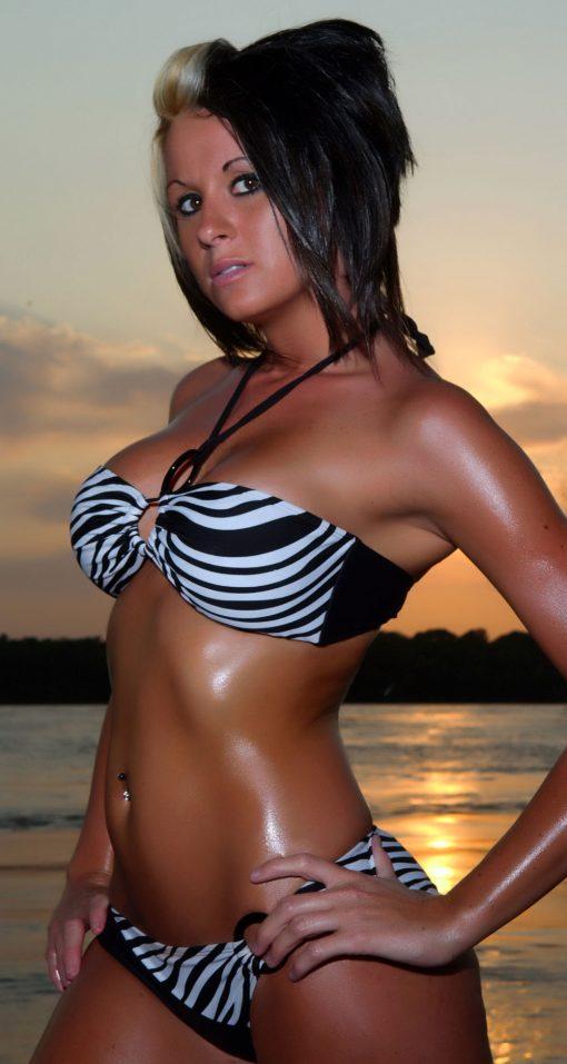 Zebra Stripes Bandeau Bikini by Swim Rags