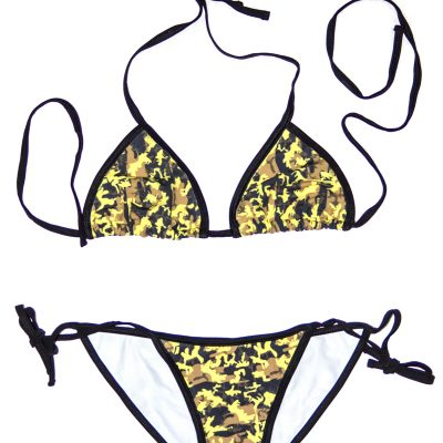 """""""Hidden Series"""" Yellow Camo String Bikini - Swim Rags Swimwear"""