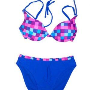Blue Checkered Cheeky Boyshort Bikini