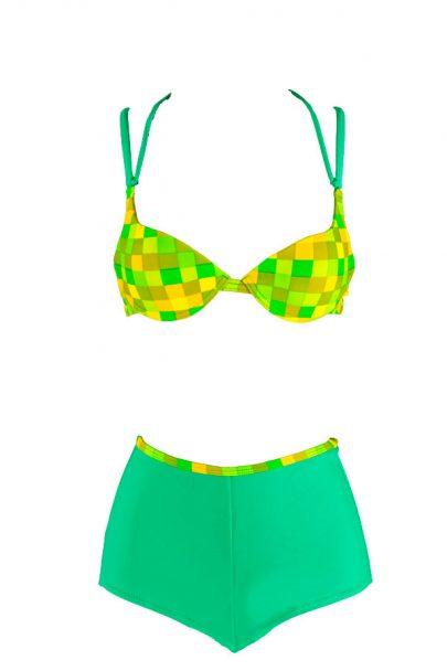 Green Checkmate Boyshort Bikini