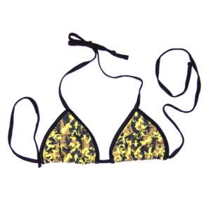 Swim Rags Yellow Camo Bikini Top