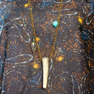 3 Inch Deer Antler Tip Pendant Necklace with Embellishments | Swim Rags
