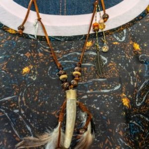 3 Inch Adjustable Leather Deer Antler Tip Pendant Necklace with Feathers   Swim Rags