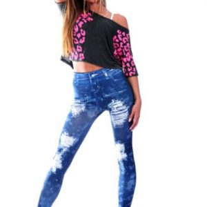 Torn Nexus Distressed Jean Printed Leggings | Swim Rags