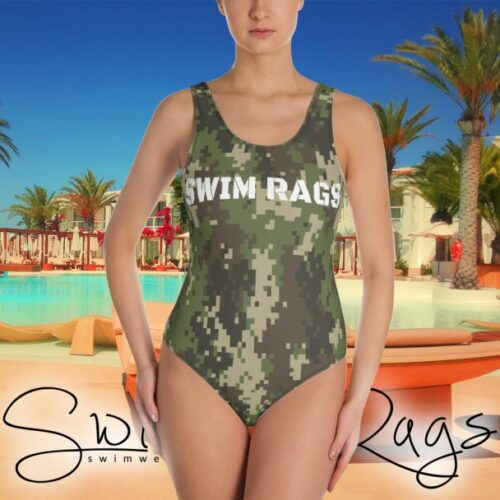 Swim Rags Digital Camouflage One-piece Swimsuit - Front View