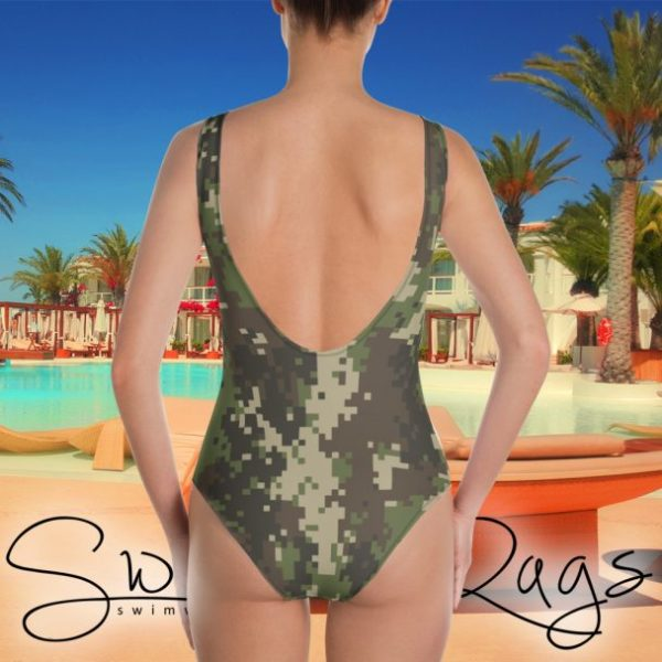 Swim Rags Digital Camouflage One-piece Swimsuit - Back View