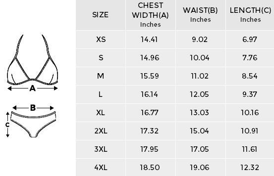Bikini Size Chart by Swim Rags