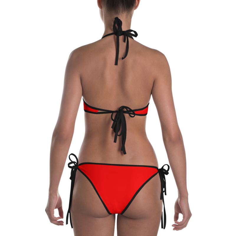 Radiant Red Bikini with Black Trim by Swim Rags