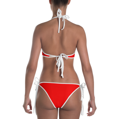 Radiant Red Bikini with White Trim by Swim Rags