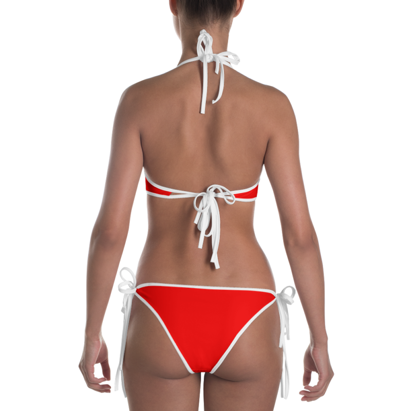 Radiant Red Bikini with White Trim by Swim Rags