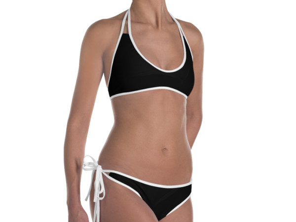 Essential Black Bikini with White Trim by Swim Rags