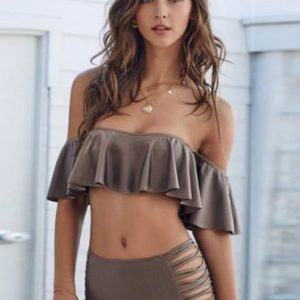 Solid Tan Color Frill Cute Off Shoulder Bikini