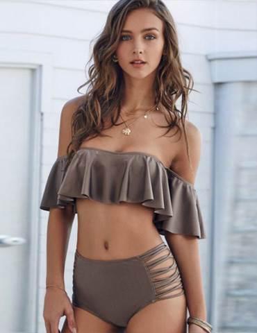Solid Tan Color Frill Cute Off Shoulder Bikini
