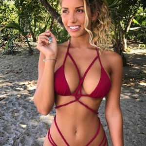 deep red sexy braided bikini set by Swim Rags