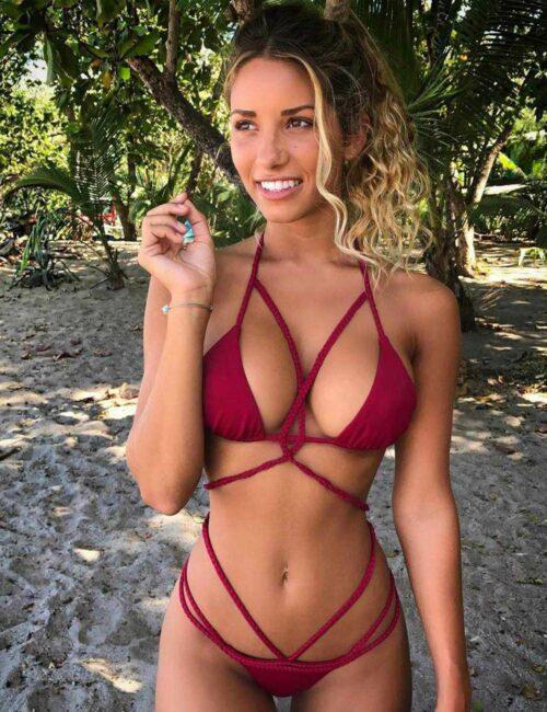 deep red sexy braided bikini set by Swim Rags