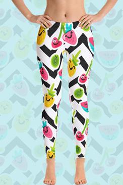 swim rags Home Emoji Fruits Leggings by Swim Rags