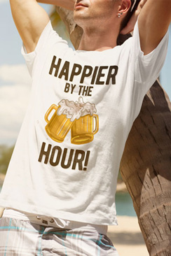 swim rags Home Happier by the Hour Beer Drinking Mens T shirt Swim Rags