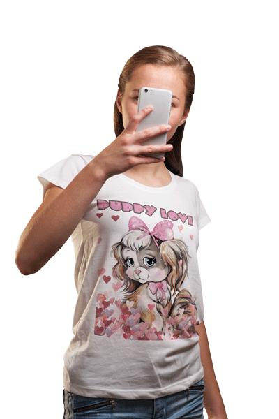 swim rags Home Juniors Puppy Love Selfie T Shirt 1
