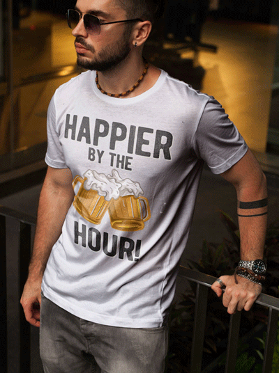 swim rags Home Mens Happier by the hour t shirt 1
