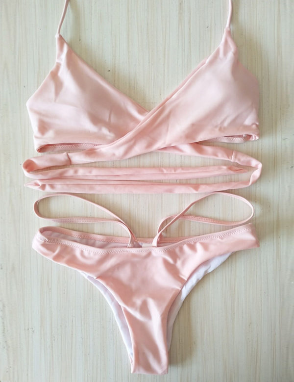 Sexy Pink Summer Crossover Bikini Set by Swim Rags (1)