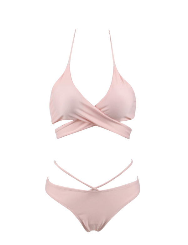 Sexy Pink Summer Crossover Bikini Set by Swim Rags (2)