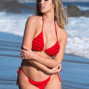 Sexy Ruffled Red Bikini Set | Swim Rags