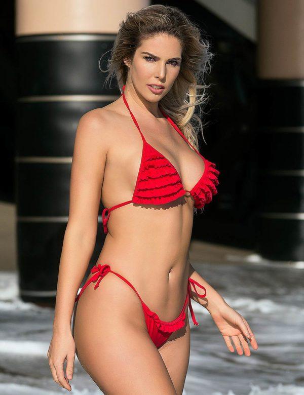 Ruffled Red Bikini Set | Swim Rags