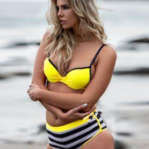 Bumblebee Stripes Three-piece Bikini Set by Swim Rags