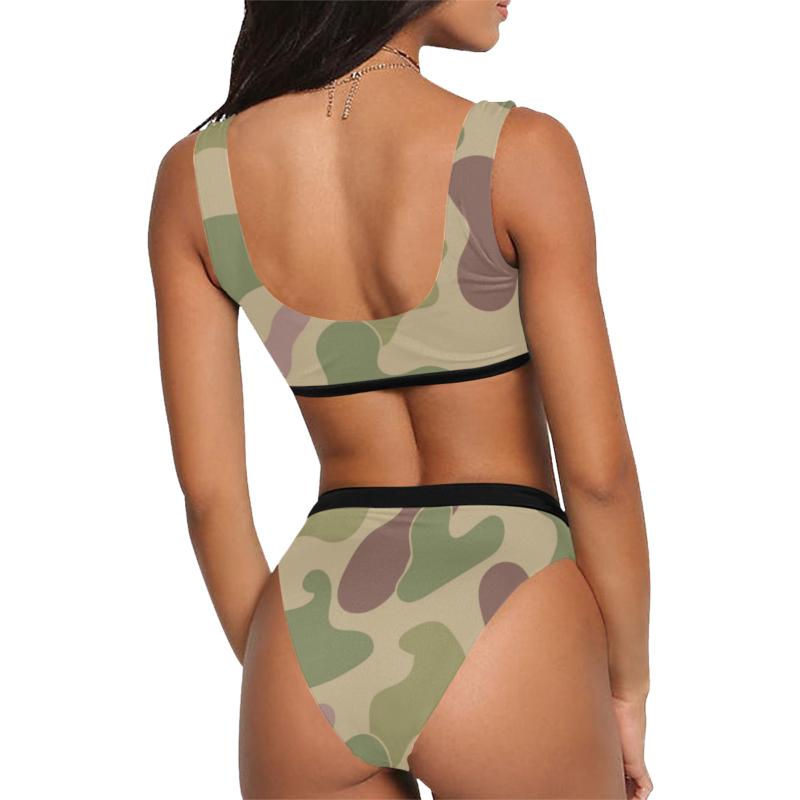 Sexy Sports Bra Style High-Waisted Bikini with Camouflage Print by Swim Rags - Back View