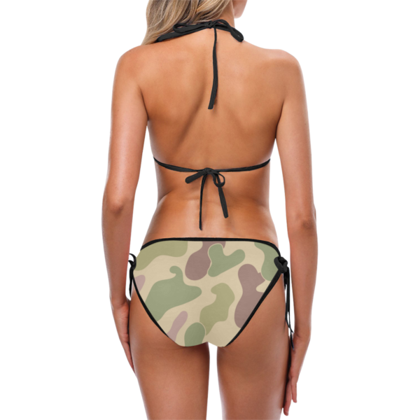 Stylish Camouflage Print Halter Top Bikini with Side-Tie Bikini Bottoms by Swim Rags - Back View