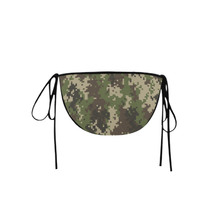 Classic Cut Side-tie Bikini Bottoms with Jungle Camouflage Print - Back View