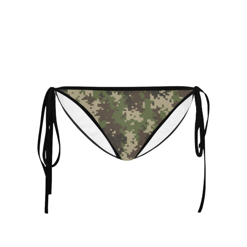 Classic Cut Side-tie Bikini Bottoms with Jungle Camouflage Print - Front View