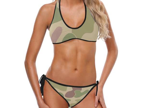 Stylish Camouflage Print Halter Top Bikini with Side-Tie Bikini Bottoms by Swim Rags - Front View