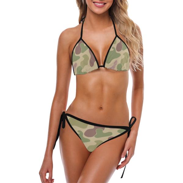 Classic Camouflage Print Bikini with Side-tie Bikini Bottoms by Swim Rags - Front View
