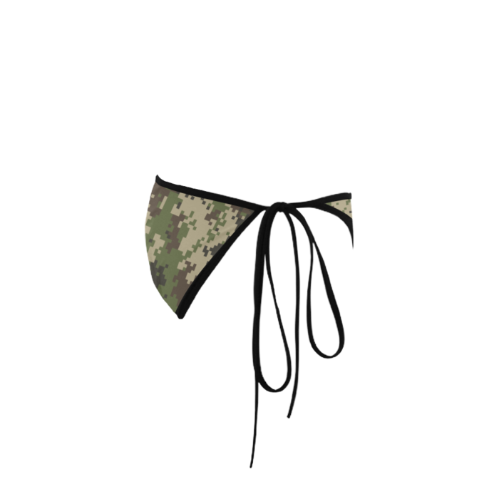 Classic Cut Side-tie Bikini Bottoms with Jungle Camouflage Print - Right View