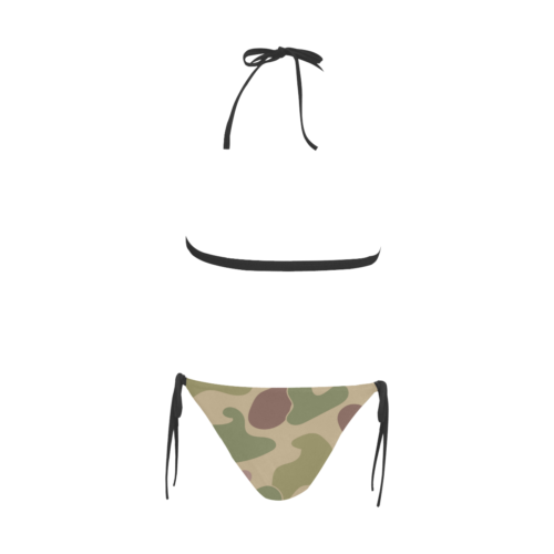 Sexy & Stylish Jungle Print Camouflage Halter Top Style Bikini Set with Front Closure by Swim Rags - Back