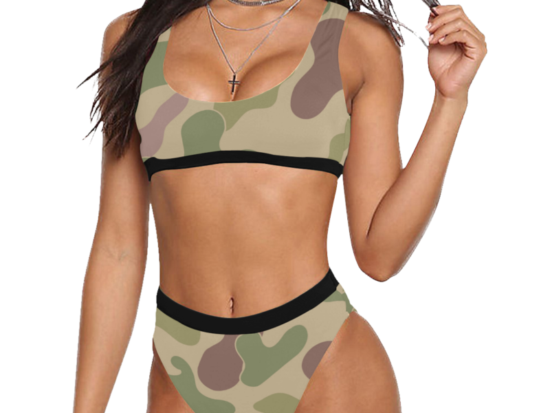 Sexy Sports Bra Style High-Waisted Bikini with Camouflage Print by Swim Rags - Front View