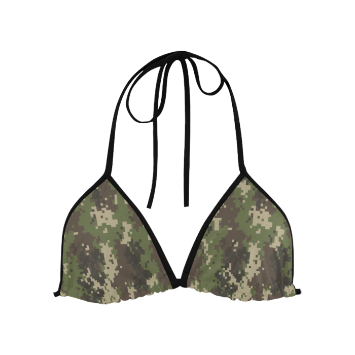 Classic Bikini Top with Digital Camouflage Print by Swim Rags Front View