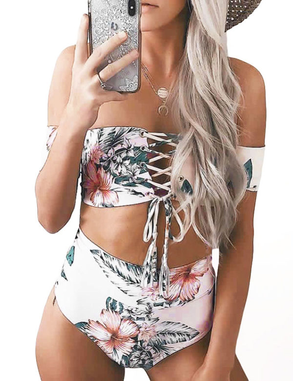 Retro Floral High Waist Print Bikini by Swim Rags (12)
