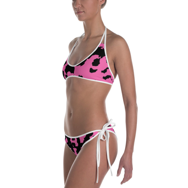 Pink Camouflage Bikini by Swim Rags - White Trim Left View