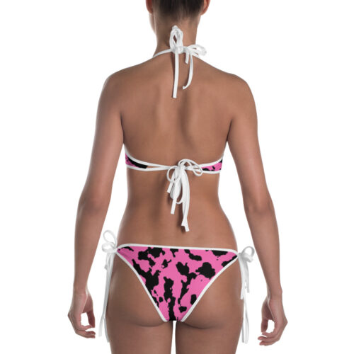 Pink Camouflage Bikini by Swim Rags - White Trim Back View