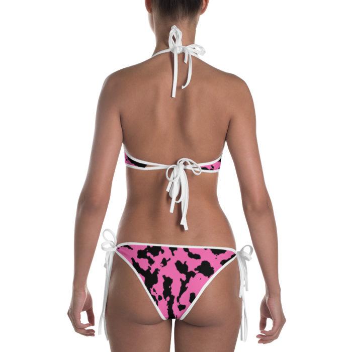 Pink Camouflage Bikini by Swim Rags - White Trim Back View