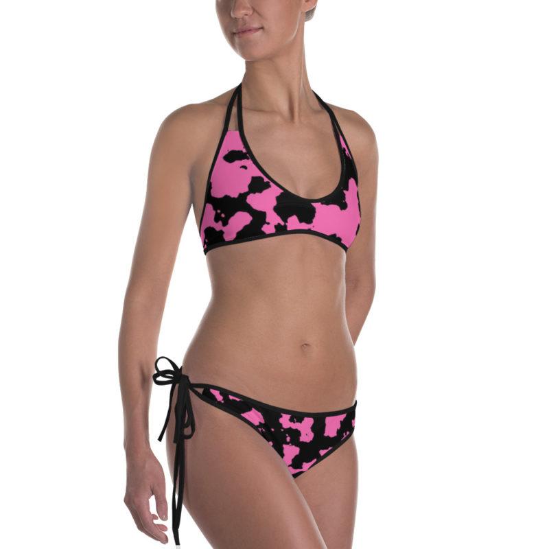 Pink Camouflage Bikini by Swim Rags - Black Trim Left View