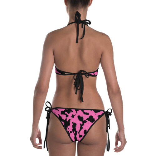 Pink Camouflage Bikini by Swim Rags - Black Trim Back View