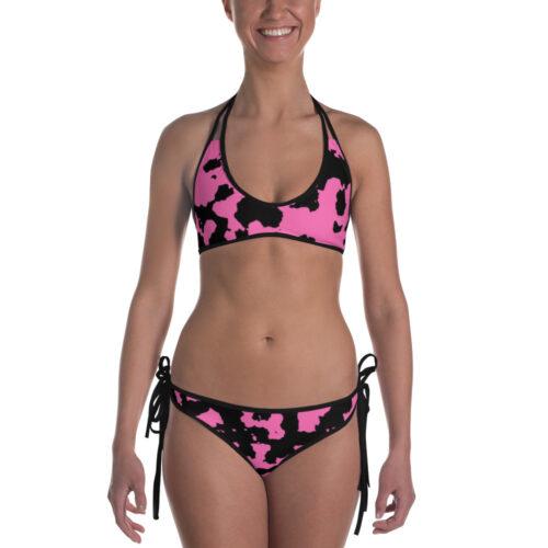 Pink Camouflage Bikini by Swim Rags - Black Trim Front