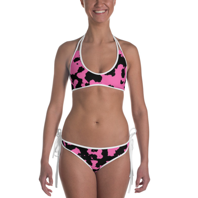 Pink Camouflage Bikini by Swim Rags - White Trim Front