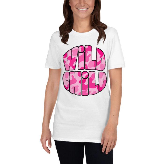 Pink Camo Wild Child White Tee Shirt by Swim Rags
