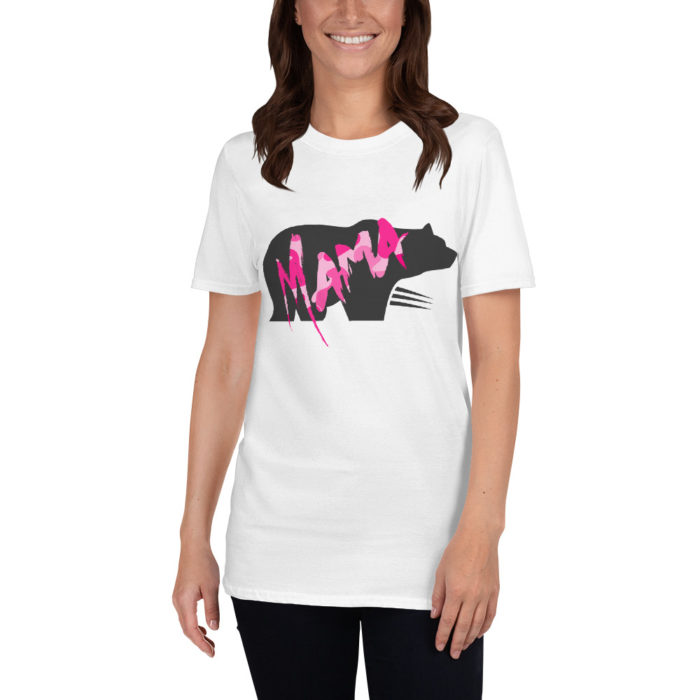 """""""Mama Bear"""" T-Shirt with Pink Camo Lettering"""