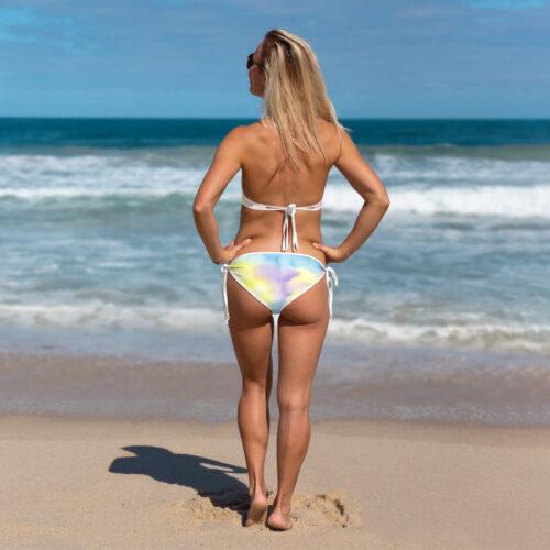 Summer Days Tie Dye Bikini with White Trim Back-view by Swim Rags