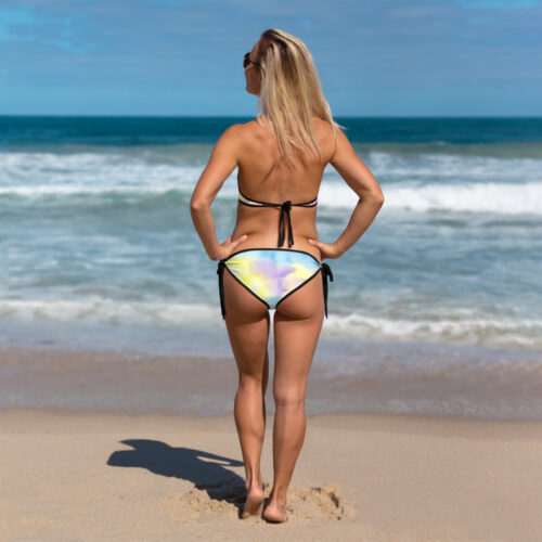 Summer Days Tie Dye Bikini with Black Trim Back-view by Swim Rags